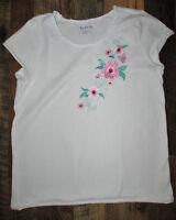 KidPik Top Girls XL (14) Short Sleeve White Embroidered Floral Applique