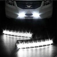 2x Car Light 8 LED DRL Fog Driving Daylight Daytime Running LED White Head Lamp
