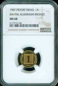 1987 PIEFORT ISRAEL 1 AGORA NGC MS 68 UNC BU COIN FINEST KNOWN