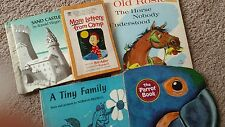 4/1960's and 1/1977 lot of 5 Children's books Parot book, Old Rosie, Sand Castle