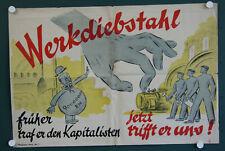 altes orig DDR Plakat Werkdiebstahl früher traf es den Kapitalisten.. Propaganda