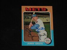 JERRY GROTE 1975 TOPPS SIGNED AUTOGRAPHED CARD #158 NEW YORK METS