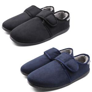 Men's Memory Foam Diabetic Slippers Wide Width Adjustable Edema House Shoes
