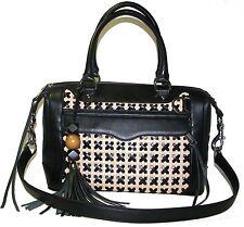 REBECCA MINKOFF Black/Nude Beige Leather Satchel Shoulder bag Handbag NWT