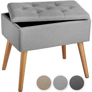 Sitzbank mit Stauraum Sitzhocker Sitztruhe Aufbewahrungsbox Holzbeine Leinen