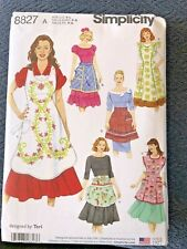 Sewing Pattern Womens Full and Half Apron Sz Sm Med Lg Simplicity 8827