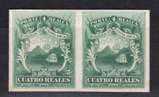 🇨🇷COSTA RICA STAMPS CUATRO REALES IMPERF PAIR PLATE PROOF ON CARDBOARD SIGNED