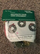 Vintage Cute Christmas Evergreen and Glitter Wreath Ornament Kit From Merri Mac