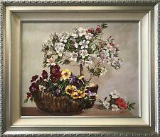 "Silvia Tejada ""Basket of Pansies"", Original Oil on Canvas, 30x24"" Custom Framed"