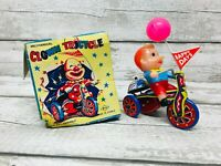 Vintage Style Mechanical Clown Tricycle Wind up Toy with Original Box Korea MTU