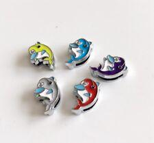 10PCS 8mm Enamel Dolphin Slide Charms Beads Fit 8mm Pet Collar Belts,Bracelets