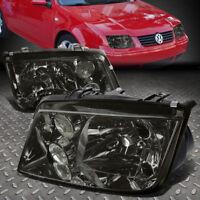 FOR 1999-2005 VW JETTA MK4 PAIR SMOKED HOUSING CLEAR LENS HEADLIGHT W/FOG LAMP