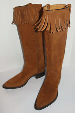 "WOMEN'S UNUSED 1970s SUEDE LEATHER 15"" BOOTS WITH FRINGES! NEW! MADE IN USA 5.5C"