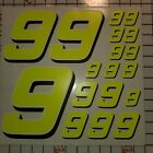 Yellow FLUORESCENT /white  Racing #9's vinyl Decal Sheet 1/8-1/10-1/12 RC Modelx