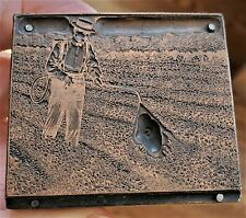 Vintage Copper On Wood Letterpress Print Block Farmer Spraying Crops Pb40
