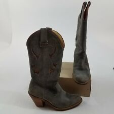 Laredo womens boots cowboy cowgirl heeled 5.5 B leather suede gray red western