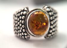 Silpada R0893 Oxidized Beaded Sterling Silver Amber Ring Size 7