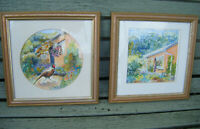 Pair of Original Framed Watercolour Paintings~Contemporary Cottage Garden
