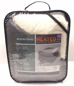 """Biddeford Microplush Sherpa Heated Blanket F/Q 80""""x84"""" NEW"""