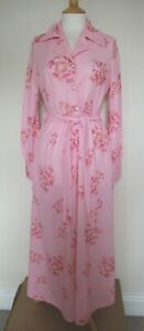SALE! GENUINE VINTAGE 1970s - PINK FLORAL MAXI DRESS - LONG SLEEVES (Sz 12)