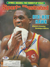 DOMINIQUE WILKINS (Hawks) Signed SPORTS ILLUSTRATED with PSA/DNA COA