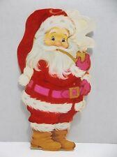 Vintage Hallmark Santa With Pipe Christmas Card Flocked Die Cut