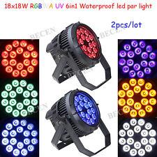 18X18W 6IN1 RGBWA UV LED par light waterproof par can light 2pcs for DJ stage