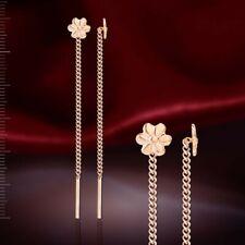 Small threader earrings flower russian rose gold 585 /14k NWT new