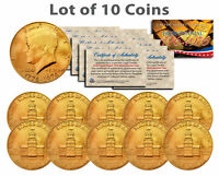 Bicentennial 1976 JFK Half Dollar US Coin 24K GOLD PLATED w/Capsules *Lot of 10*