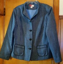 JM COLLECTION Women's Blue Tweed Boucle Chanel-Look Button Blazer Jacket Size 16