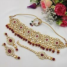 Indian Asian Bollywood Bridal Wedding Ethnic Jewellery Kundan Patti Necklace Set