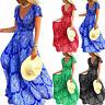 Womens Short Sleeve V-Neck Maxi Dress Boho Holiday Casual Floral Dresses Beach