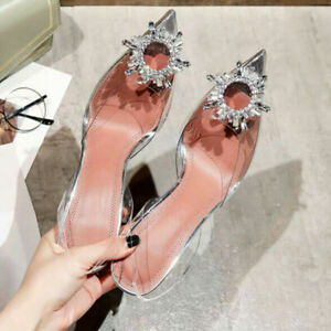 Womens CLEAR PERSPEX High Heels Stiletto Court Shoes Sandals Pointed crystal NEW