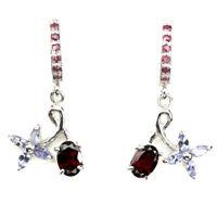 Elegant Natural Oval 7x5mm Mozambique Garnet Ruby Tanzanite 925 Silver Earrings