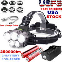 250000LM 5XT6 LED Headlamp Rechargeable Head Flashlight Torch Lamp 18650 Charger