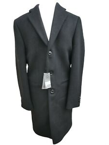 Marks And Spencer Winter Overcoat Mens Small Black double breasted Wool Coat New