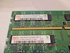 (Lot of 2) Hynix 1GB PC2-5300U-555-12 Desktop computer memory chip....2GB Total