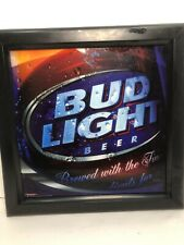 Bud Light Beer Sign Mirror Glass Look Collectible 16X16x6