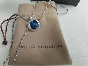 David Yurman Square Chain blue topaz & diamond Pendant Necklace