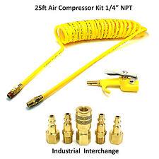 "Foster 1/4"" - 25' Polyurethane Recoil Compressor Hose Fittings Air Blow Gun"