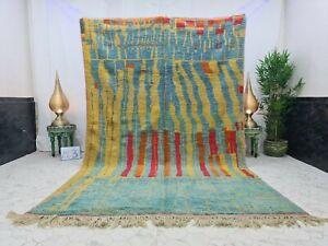 "Handmade Moroccan Vintage Boujaad Rug 6'6""x10'2"" Berber Patchwork Blue Red Rug"