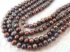 Zuchtperlen Strang 37 cm Süßwasser Perlen Schmuck Halsketten 9-10 mm barock
