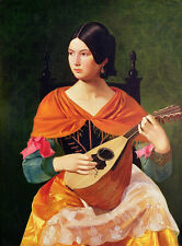 Oil painting beautiful young noble lady playing Ancient musical instruments 36""