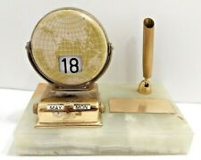 Nifty Vintage Marble Base Desk Pen Holder w/Globe Perpetual Flip Calendar