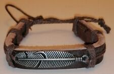 Brown Leather Bracelet. With Feather