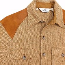 WOOLRICH Vintage Shooting Jacket Mens Large Suede Leather Elbow Patches USA Coat