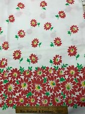 Vintage Cotton Fabric 40s CUTE Red Daisies Floral 35w 1yd