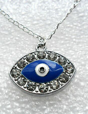 Blue 'evil eye' pendant with clear stones - 18'' chain