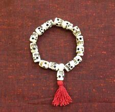 7.5 Inch Skull Mala Yak Bone Tibetan Buddhist Prayer Bracelet Made in Nepal