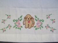 Pillowcase, Standard Hand-Embroidered Cross-Stitch Pink Flowers Vintage